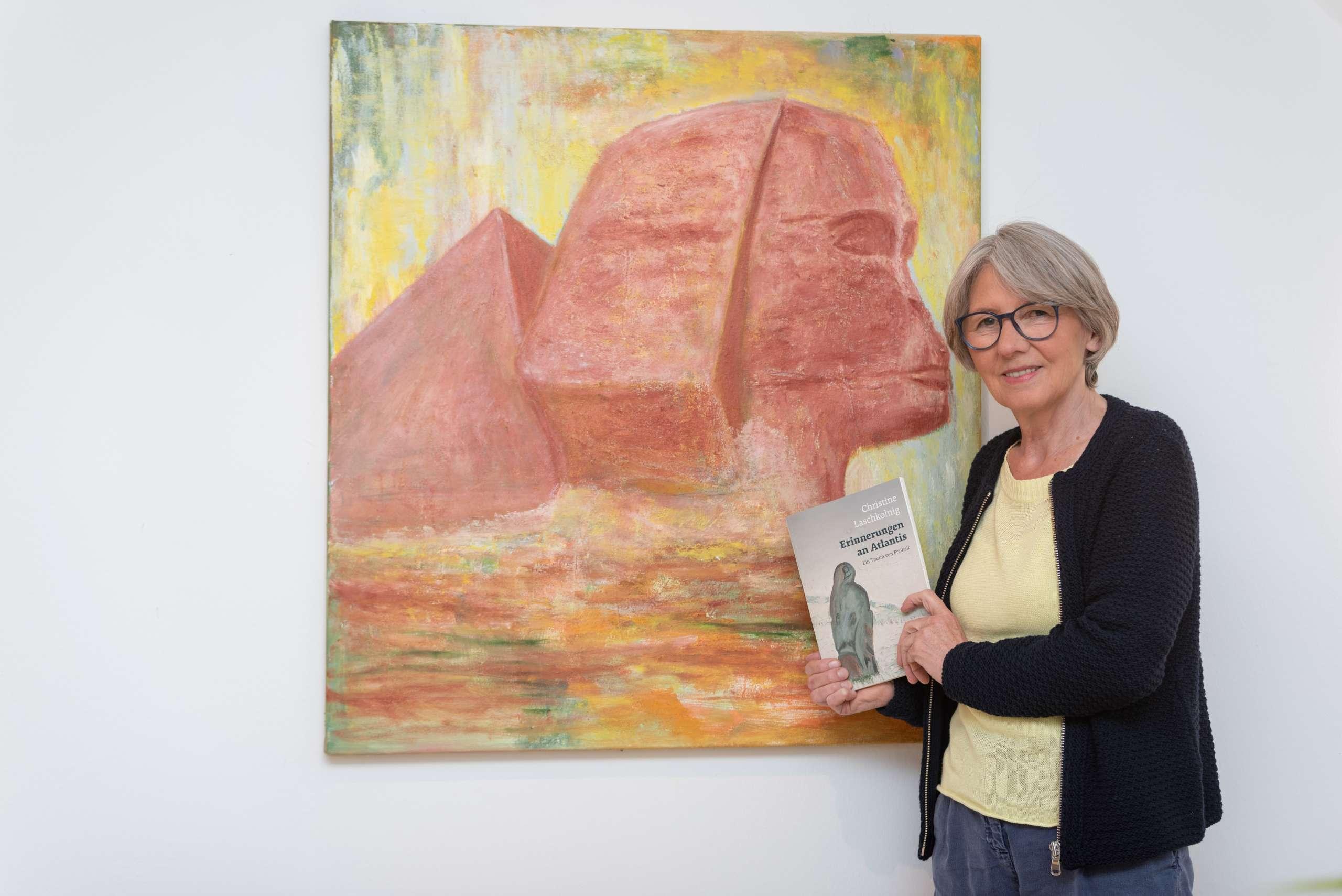 """Selbstgemaltes Bild aus dem Buch Dr. Christine Laschkolnig """"Erinnerungen an Atlantis - ein Traum von Freiheit"""": Sphinx"""
